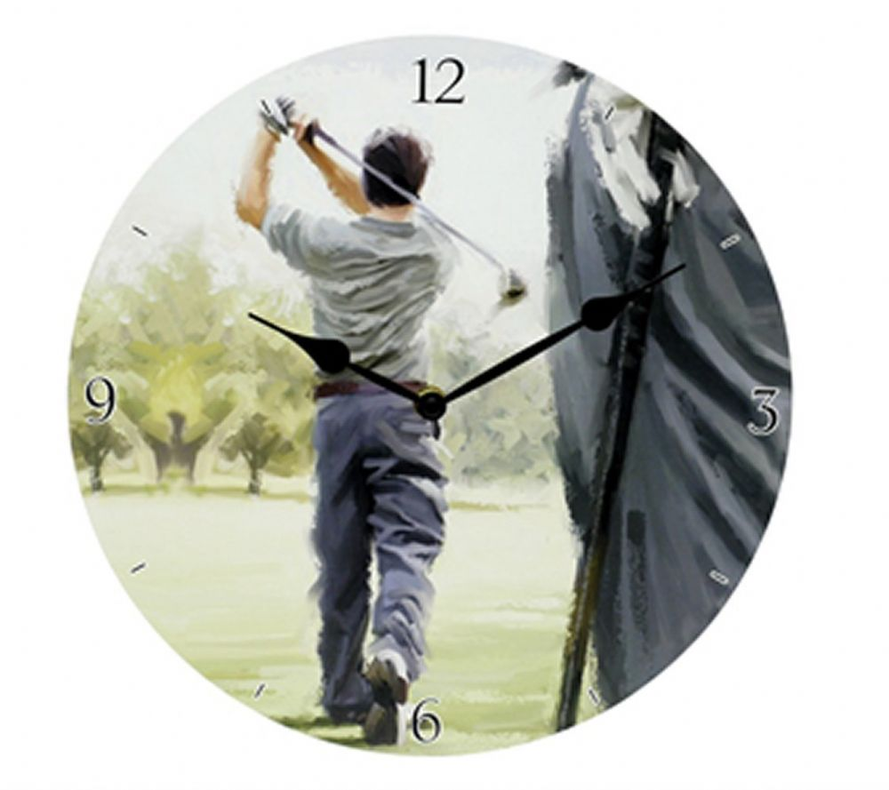 Golf Round Wooden Sports Wall Clock